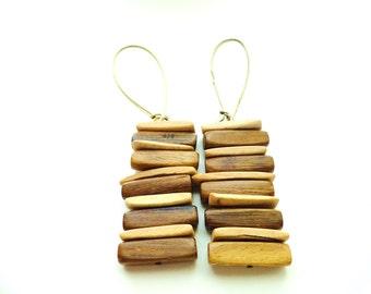Wire Wood Flat Bead Dangle Earrings