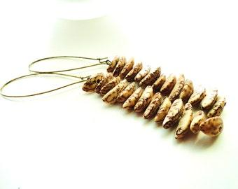 Spotted Shell Beaded Dangle Earrings