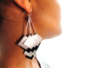 Cascading Dangle Silver and Black Earrings