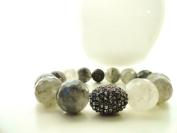 Grey Cloud Quartz and Rhinestone Stacks Bracelets