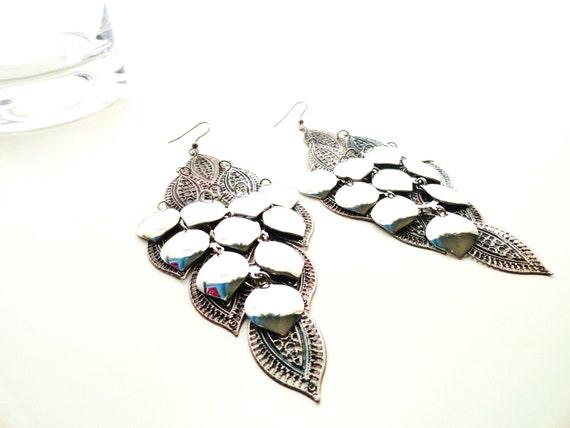 Burnished Silver Filigree Leaf Shape Long Dangle Earrings