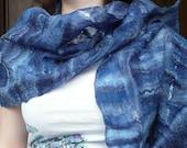 Felting cobweb scarf merino wool,blue and white colors