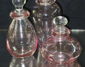 Lot 3 Vintage Pink Glass Perfume Bottles w/Glass Stoppers French