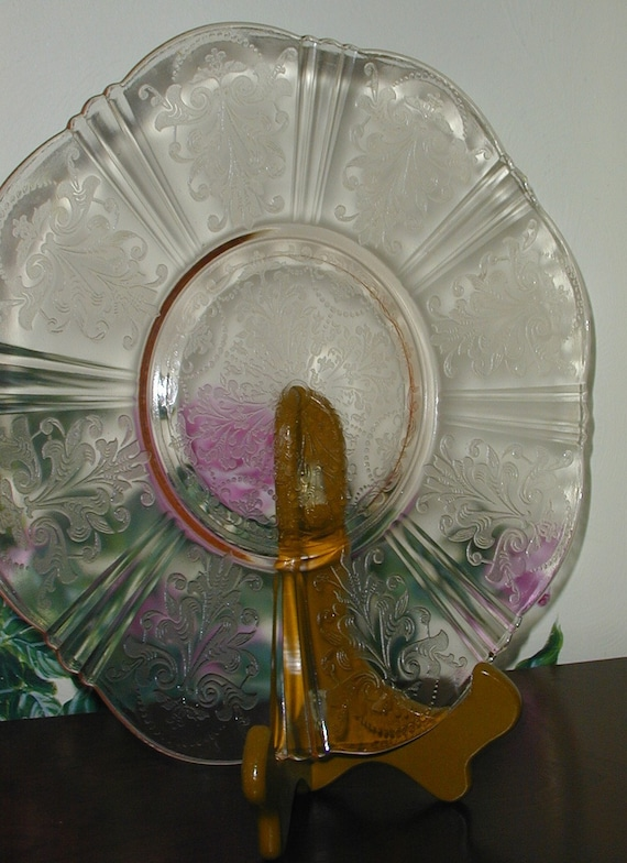 Vintage PINK Depression Glass Cake Plate MacBeth-Evans American Sweetheart Dish