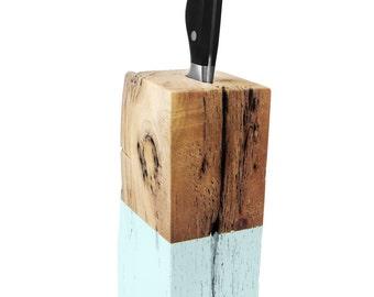 Driftwood Knife Block. Knife Block. Aqua Blue. Wood Knife Holder. Kitchen Decor.