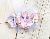 Vintage Inspired Blue / Purple/ Pink Flower with Tulle Hair Band Great for Photography Prop