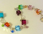 Swavorski cube multi color bracelet with sterling silver chain and findings