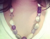 Purple Ivory and Gray Beaded Necklace with Silver Toggle Clasp
