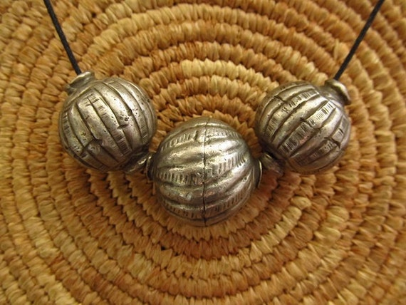 Reserved for Paula: Antique Large Harer Silver Beads