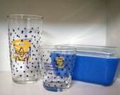 Vintage Bicentennial 1976 Sour Cream Glass Peanut Butter Glass Duo
