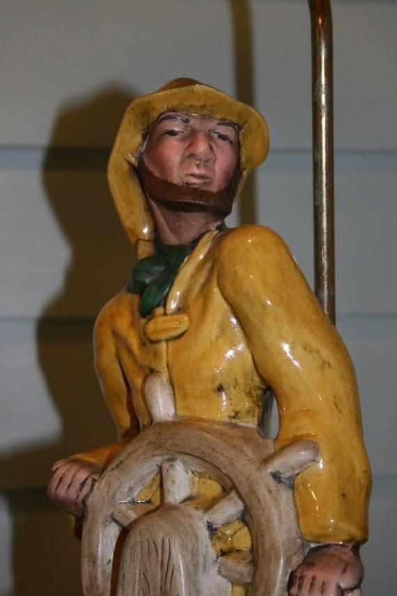 Vintage Nautical Captain Fisherman Lamp