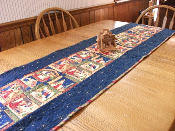 Quilted, Christmas Table Runner with Nativity Scenes