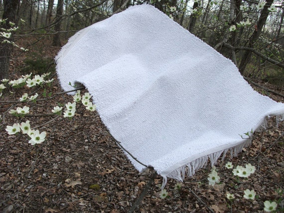 Hand-woven, cotton Rag Rug, with Hem-stitching and Fringe, made of recycled bedspread