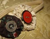 Vintage Button & Lace Headband. Infant through Adult -Vintage Inspired- Tinroof Rainna