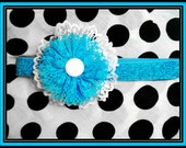 Blue and White Lace Flower  Stretchy Headband