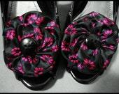 Purple & Black Floral Shoe Clips