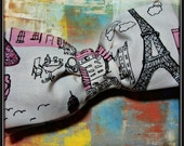 Paris Large Hair Bow Clip (features eiffel tower in fabric)