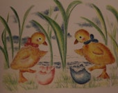Twin Baby Ducklings newly hatched baby greeting card