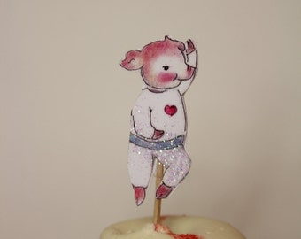 Dancing pig cup cake topper Pink and white birthday Party favor