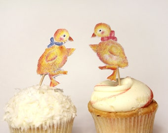Dancing  Ducks Cup cake toppers, boy and girl ducks for party, twin ducklings