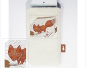 Red fox orange on unbleached Cotton Canvas with Felt Lining iPhone case, iPhone 4, 4S, 3G, cell phone case, iPod case, cute animal