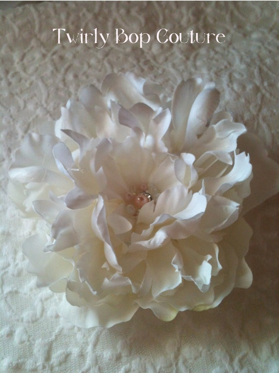 White Bride's Flower hair clip Pink bead and Crystal Bling Flower
