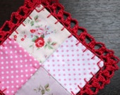 Mini Patchwork with Crocheted Lace - Red