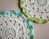 Crochet Coaster, White - Set of 2