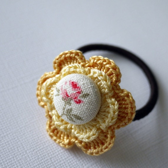 Flower Crochet Hair Tie Yellow by patchstitchbutton on Etsy