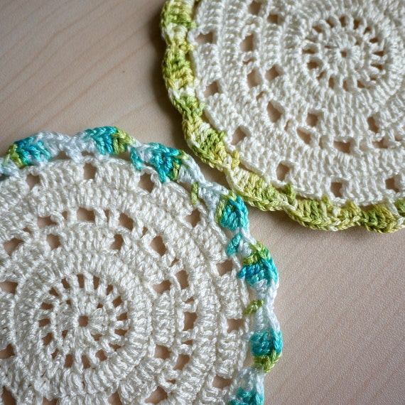 Crochet Coaster, White - Set of 2