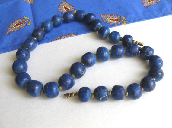 SALE, Vintage Asian Bead Necklace, Free Shipping, blue, boho