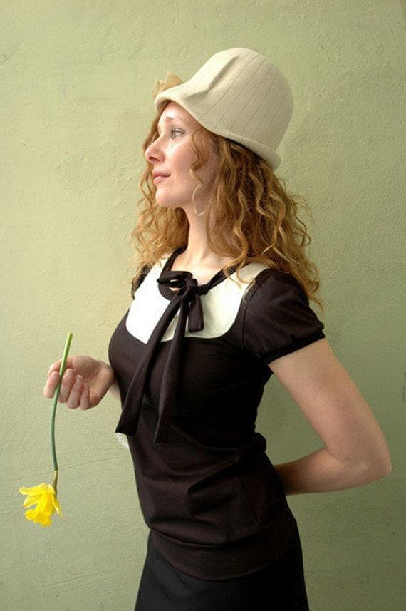 "Jersey shirt ""Amelie"", black-cremewhite"