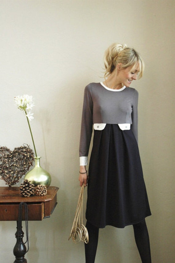 "60er Style - Dress ""Lucia"", navyblue-gray-cremewhite"
