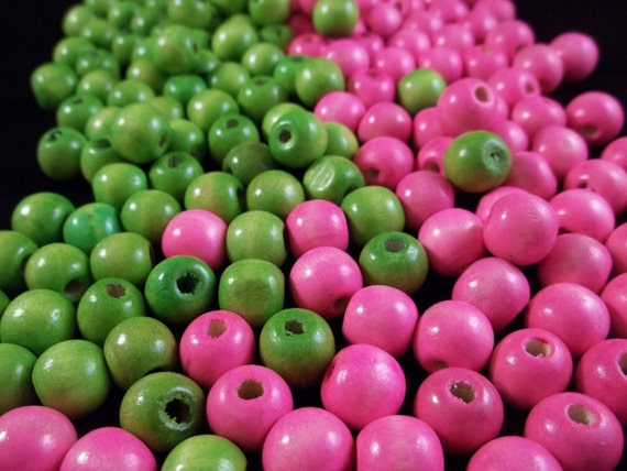 50 Pink and Green colored wooden beads perfect for the basketball wives hoop earrings