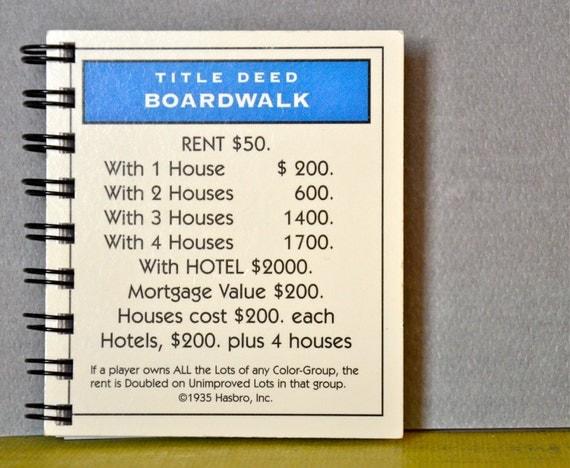 Upcycled Monopoly Property Card Notebook - Boardwalk