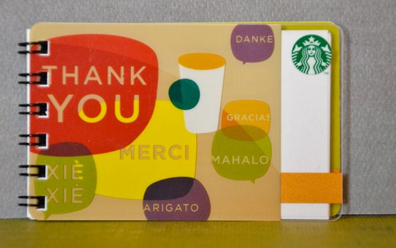 RESERVED FOR CATHY - Upcycled Gift Card Notebook - Starbucks