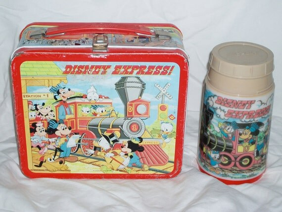 Vintage Disney Express Train Lunch Box with Thermos