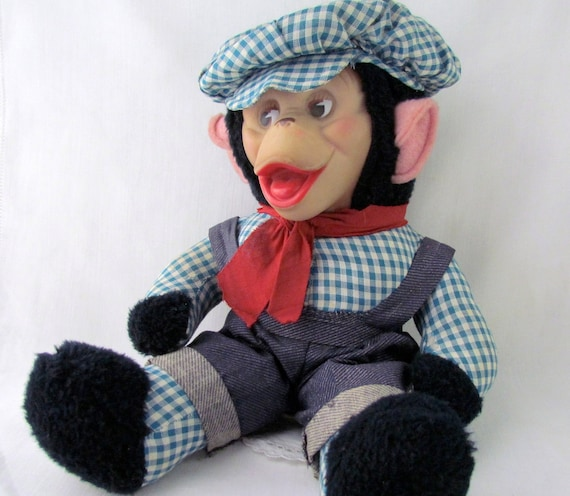 Gund Vintage Monkey 1976 with Plaid Outfit