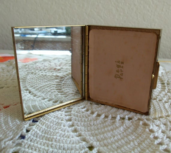 Vintage 1970s Brass Powder Compact with Mirror Powder Screen Makeup Puff