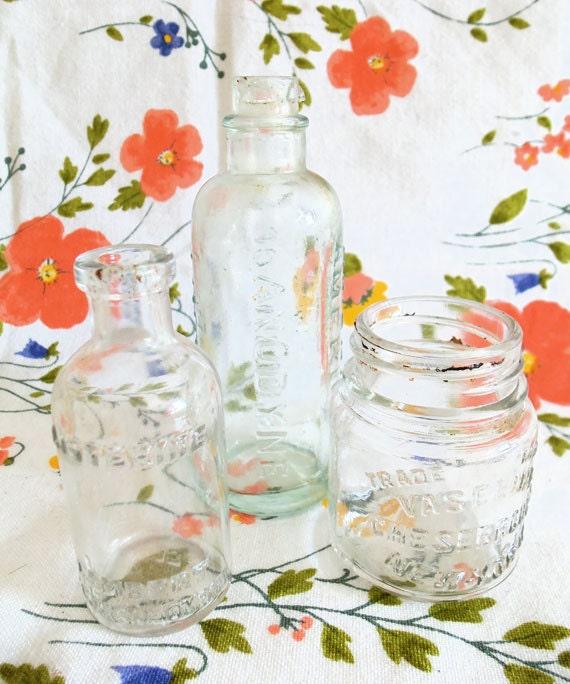 Mini Three Bottle Collection 1960s Vaseline Listerine Anodyne