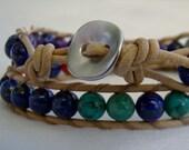 Double wrap semi precious energy bracelet