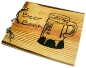 Large Beer Book Notebook - Wooden Brew Log Book - Journal Wood Burnt - Custom Cover