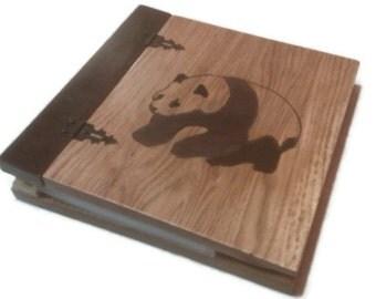 "Panda Wood Scrapbook - Photo Album Inlay 9""x9"" Overall"