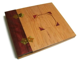 "Wooden Scrapbook Album -Photo Album -12"" x 12"" Inlaid, Recessed Photo Placement"