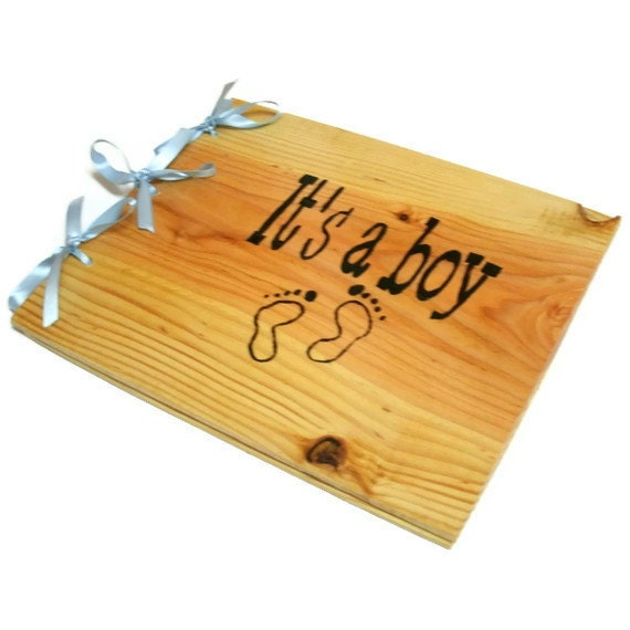 "Wooden Baby Boy Book - Shower Guest Book - Its A Boy, 10""x12"" - Custom Cover"