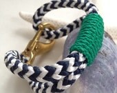 Navy & White Nautical Rope Bracelet with Green Wrap and a Bronze Clasp