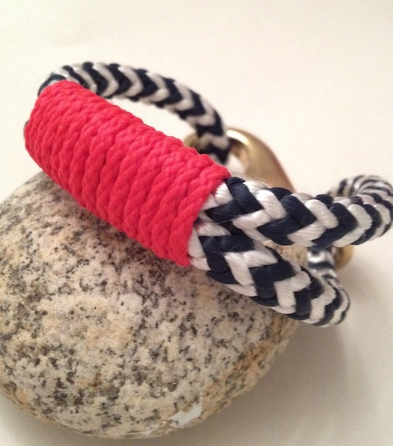 Navy & White Nautical Rope Bracelet with Red Wrap and a Bronze Clasp