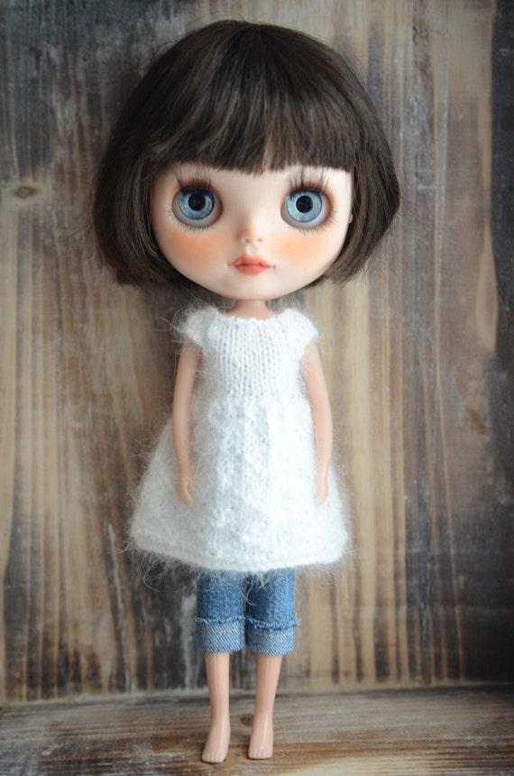 White beaded 100% angora Neo Blythe Licca Pullip Licca Dal beaded babydoll dress