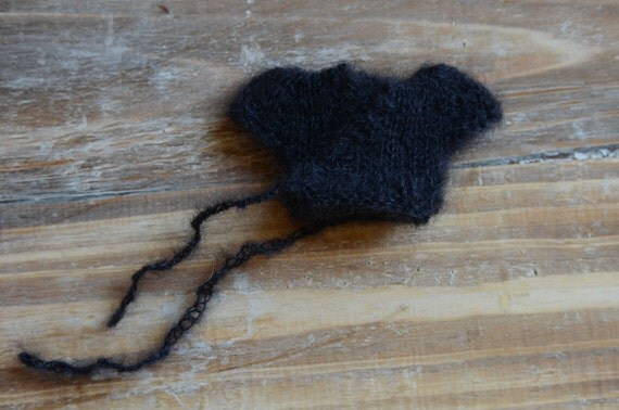 Custom order for Andie - a black superkid mohair and silk cap sleeved ballet wrap style sweater with knitted ties