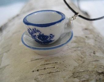 Vintage Mini Teacup & Saucer Necklace
